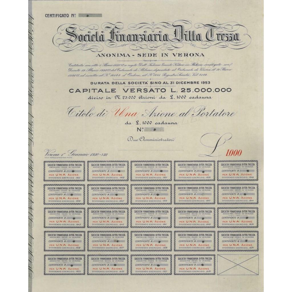 SOC. FINANZIARIA DITTA TREZZA - 1 AZIONE - 1930
