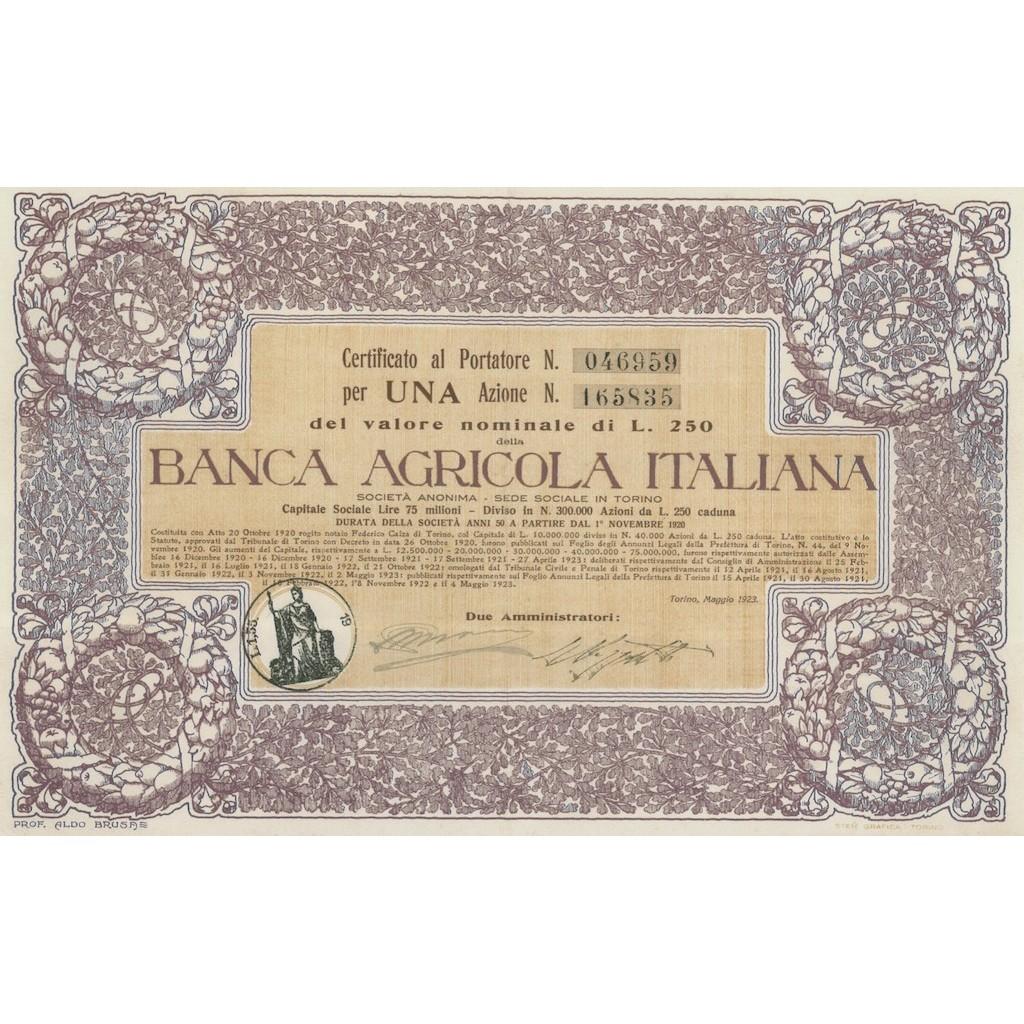 BANCA AGRICOLA ITALIANA - UNA AZIONE TORINO 1923