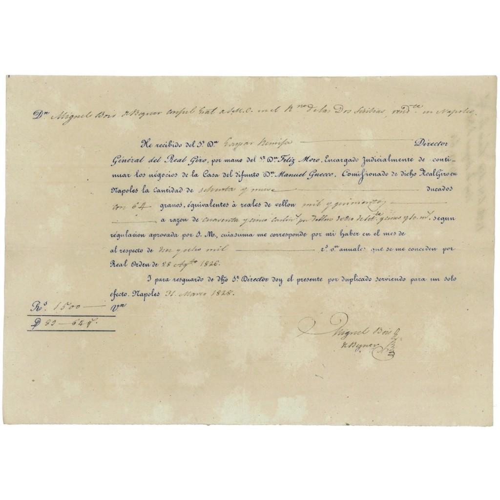 DIRETTORE GEN. REAL GIRO CONSOLE SPAGNOLO - NAPOLI 1828