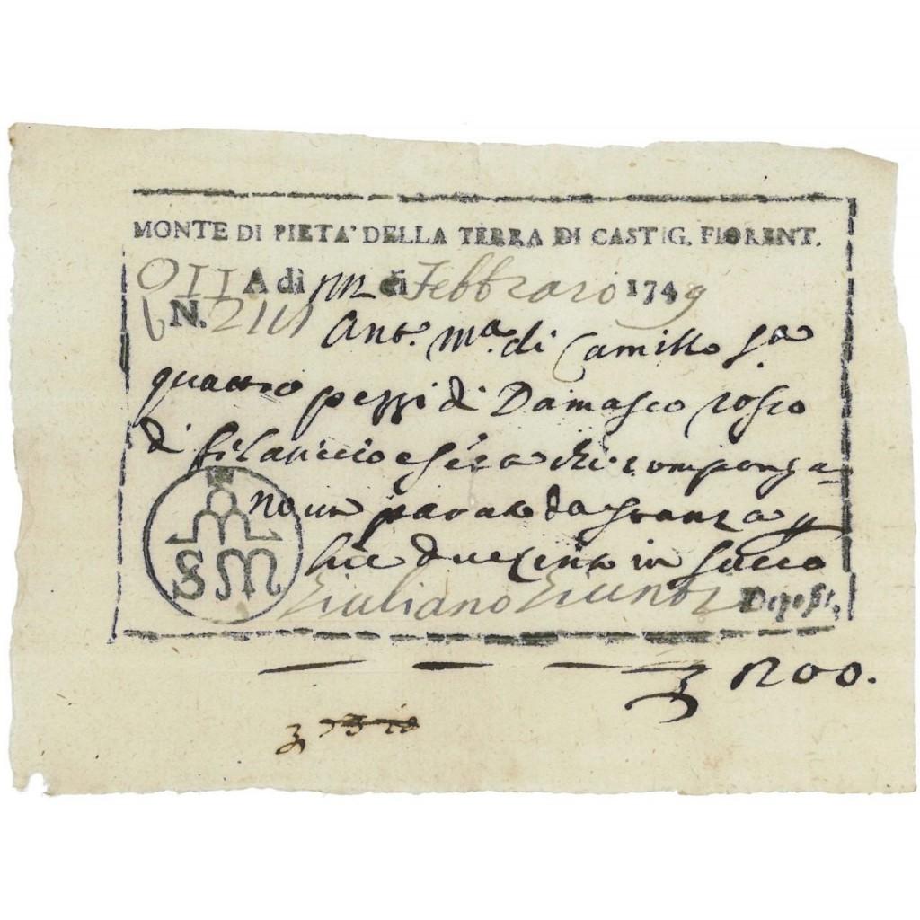MONTE DI PIETA' DELLA TERRA DI CASTIGLION FIORENTINO - 1749