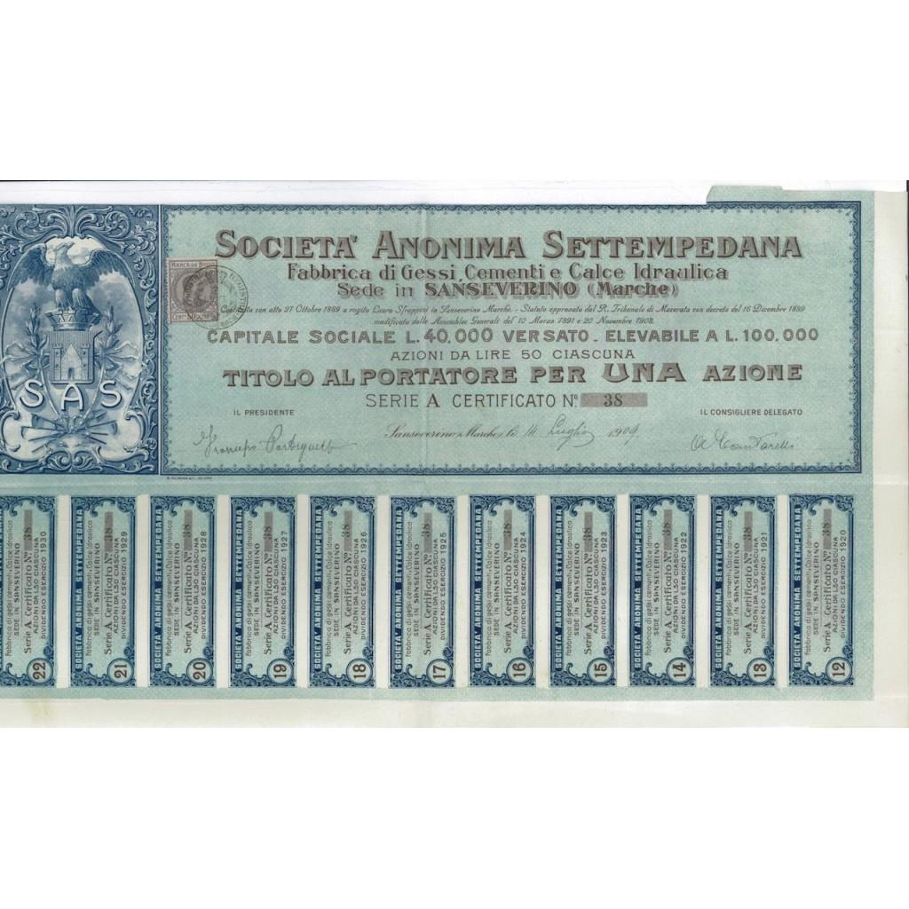 SOC. ANON. SETTEMPEDANA - UNA AZIONE - 1909