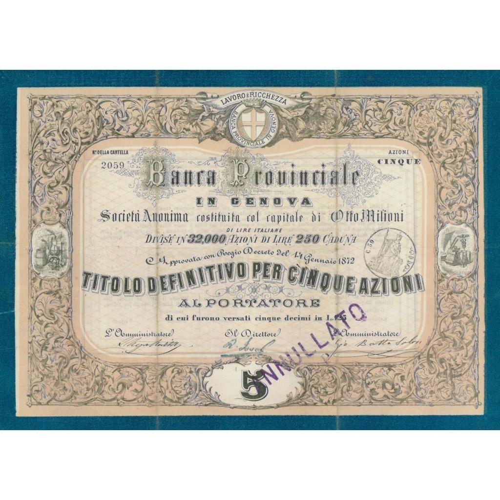 BANCA PROVINCIALE IN GENOVA 5 AZIONI 1872
