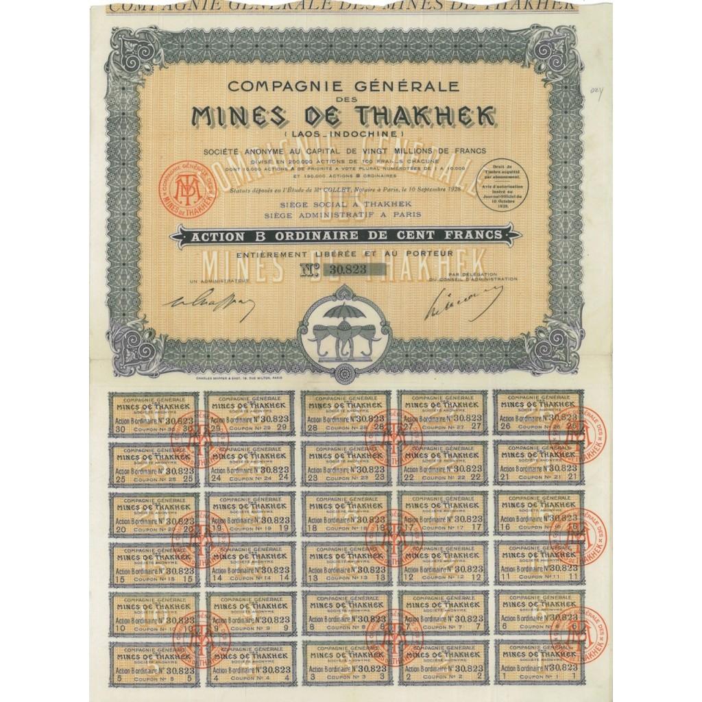 COMP. GEN. MINES DE THAKHEK - 1 AZIONE - 1928