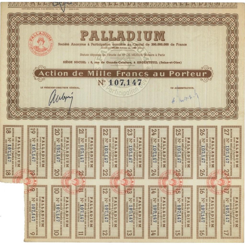PALLADIUM - 1 AZIONE DI 1000 FRANCHI