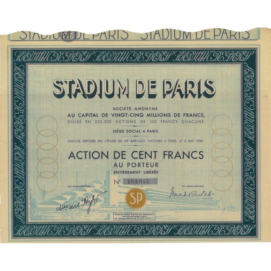 STADIUM DE PARIS - 1 AZIONE DI 100 FRANCHI - 1934