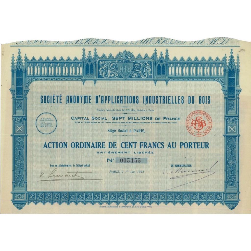 SOC. ANON. D'APPLICATIONS INDUSTRIELLES DU BOIS - 1 AZIONE 1923