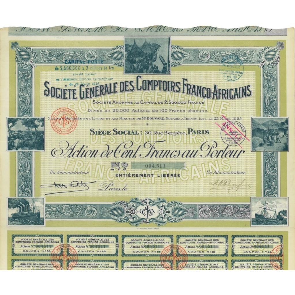 SOC. GEN. DES COMPTOIRS FRANCO-AFRICAINS 1 AZIONE 1927