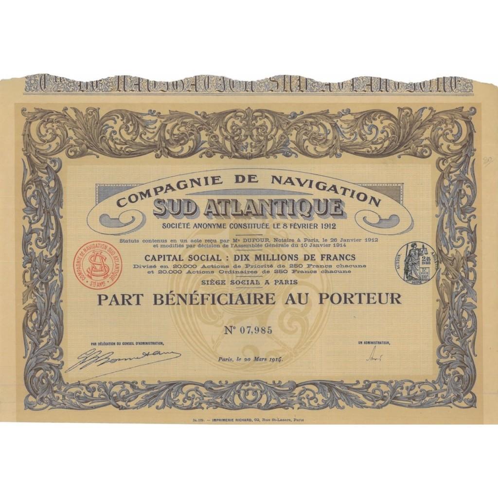 COMP. DE NAVIGATION SUD ATLANTIQUE - 1 AZIONE - 1914