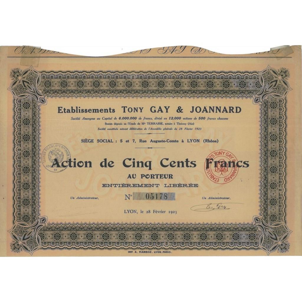ETABLISSEMENTS TONY GAY E JOANNARD - 1 AZIONE 1923