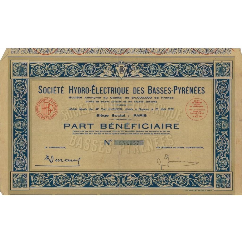 SOC. HYDRO-ELETRIQUE DES BASSES-PYRENEES - 1 AZIONE - 1932