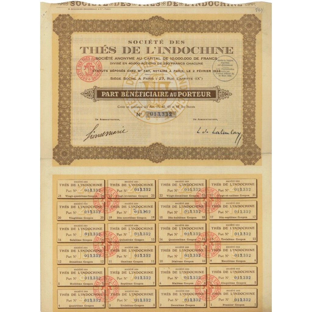 SOC. DES THES DE L'INDOCHINE - AZIONE - 1924