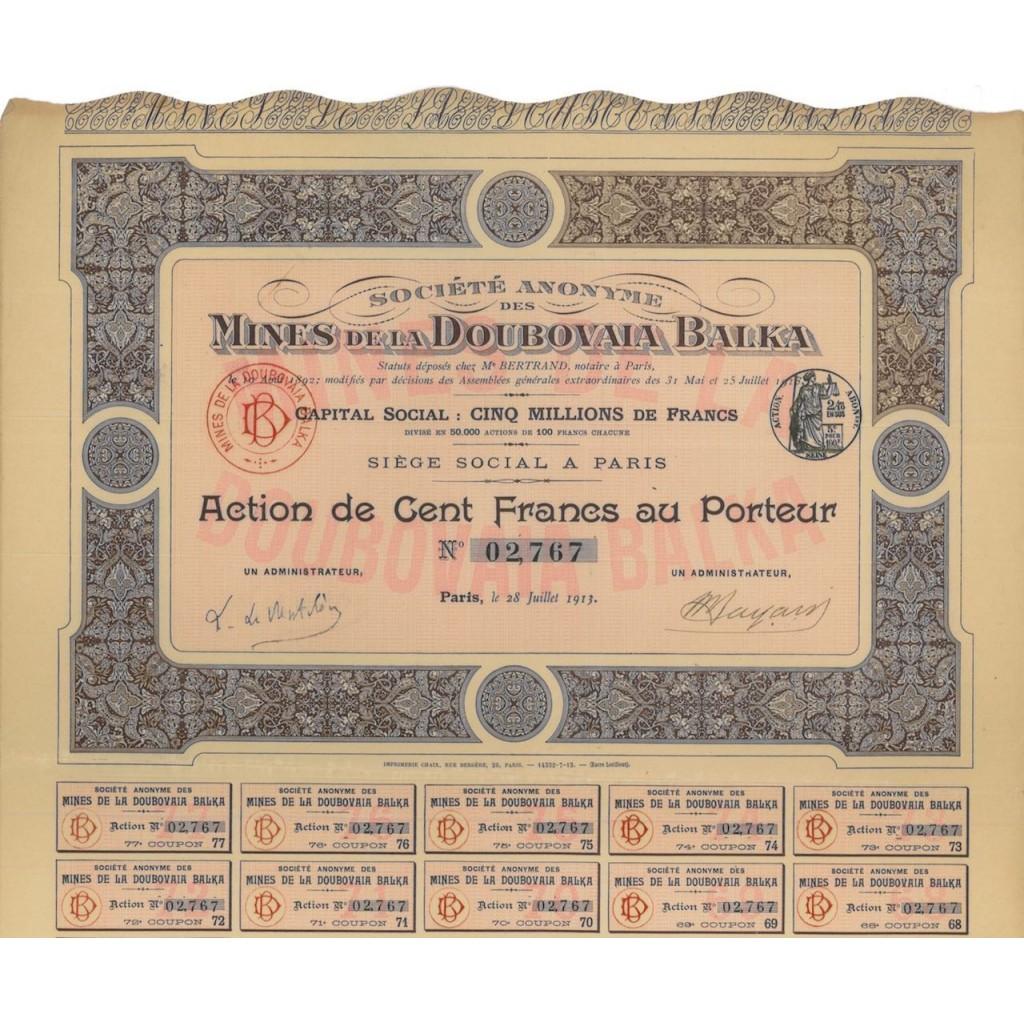 SOC. AN. DES MINES DOUBOVAIA BALKA - 1 AZIONE - 1913
