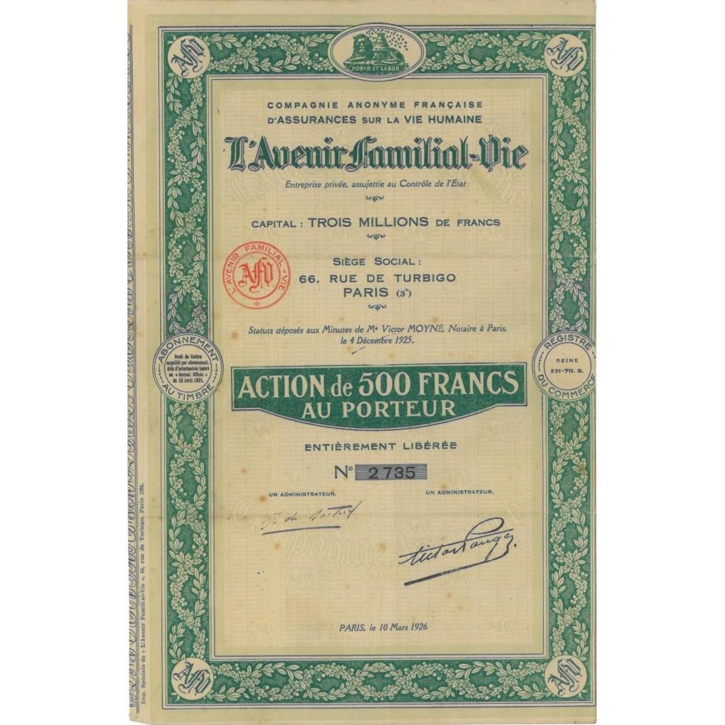 COMP. AN L'AVENIR FAMILIAL-DIE - 1 AZIONE - 1926