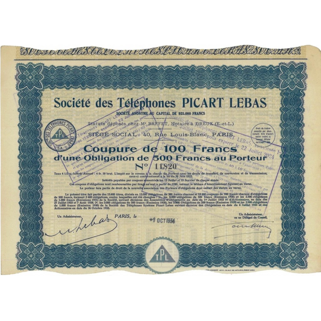 SOC. DES TELEPHONES PICART LEBAS - FRAZIONE DI OBLIGAZIONE - 1934