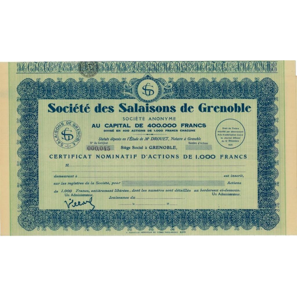 SOC. DES SALAISONS DE GRENOBLE - AZIONE - 1929