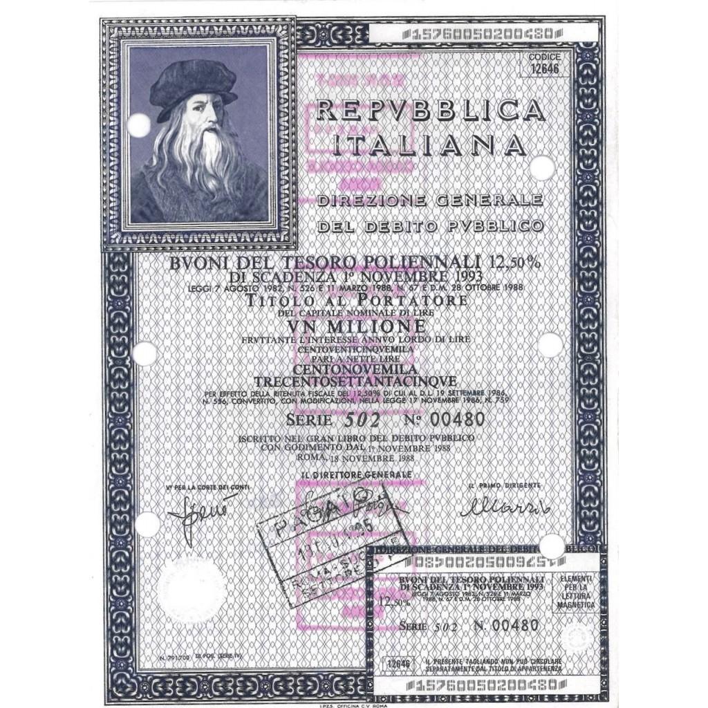 BTP POLIENNALI SERIE 502 LIRE 1...