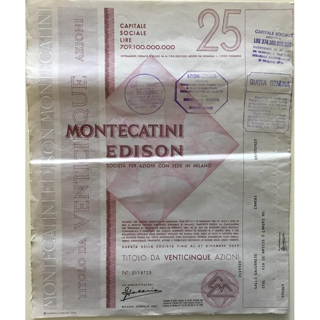 MONTECATINI EDISON - 25 AZIONI MILANO...