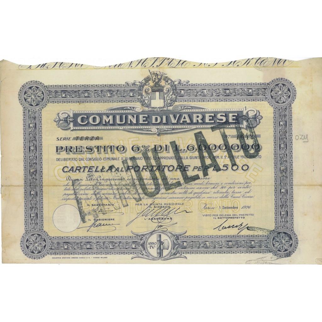 COMUNE DI VARESE - CARTELLA AL PORTATORE LIRE 500 VARESE 1926