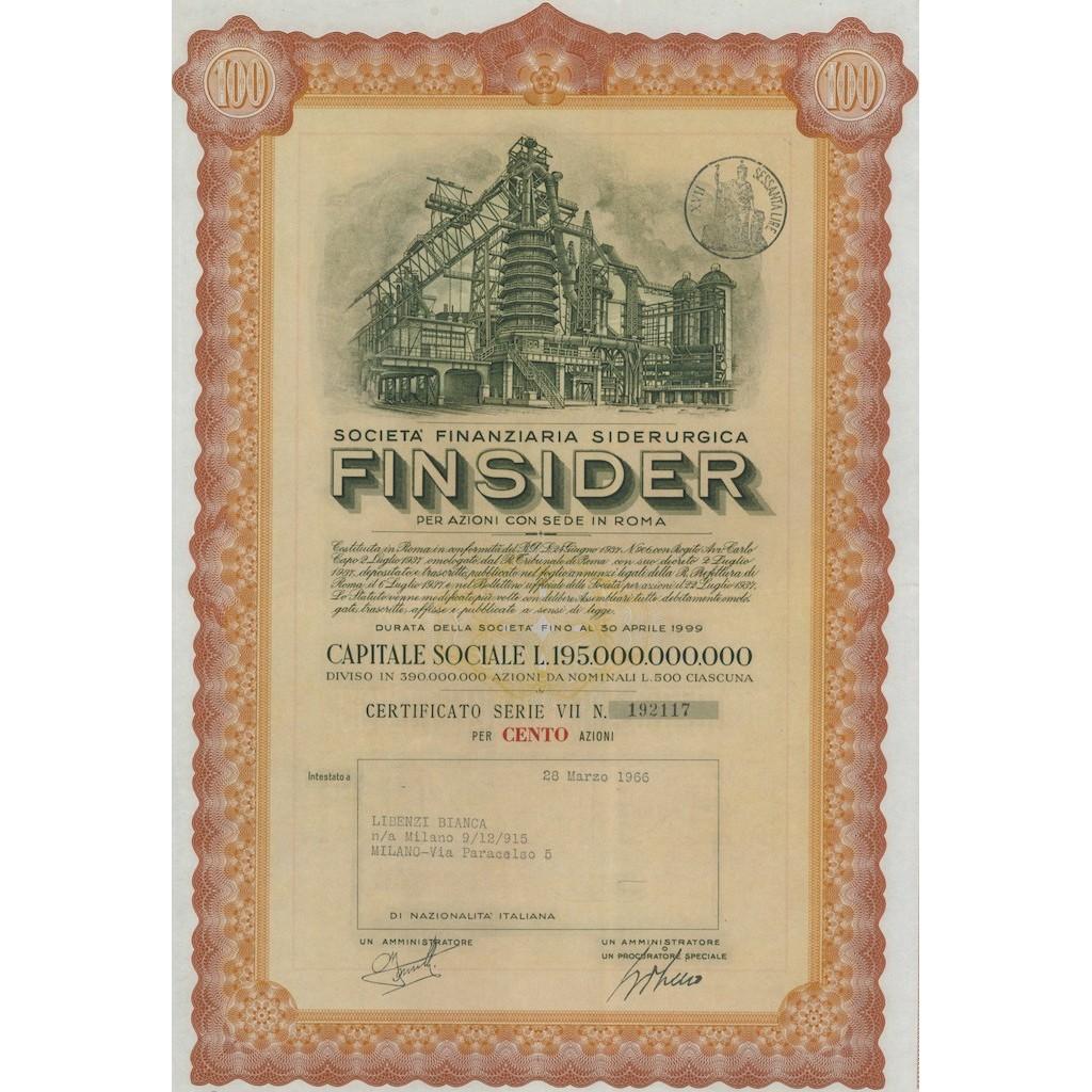 SOCIETA FINANZIARIA SIDERURGICA FINSIDER - 100 AZIONI ROMA 1966