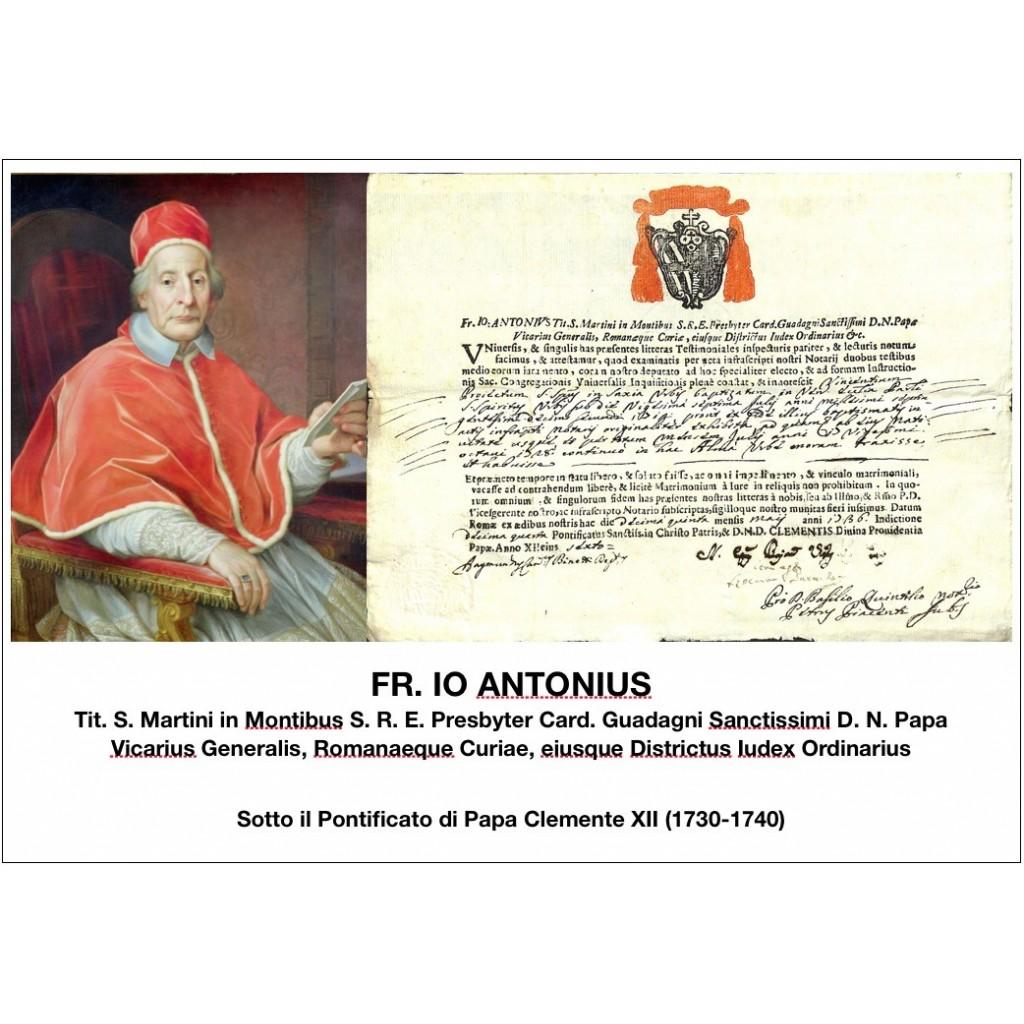 FR. IO ANTONIUS - PONT. PAPA CLEMENTE...