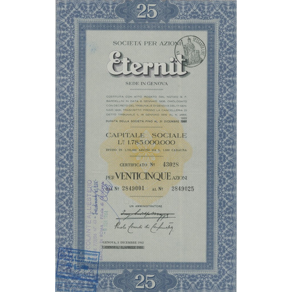 ETERNIT - CAP. SOC.1.785.000. 25 AZIONI GENOVA 1962