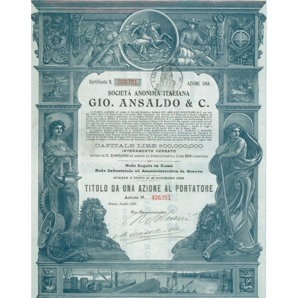 SOC. ANON. ITALIANA GIO. ANSALDO & C. 1 AZIONE ROMA 1933