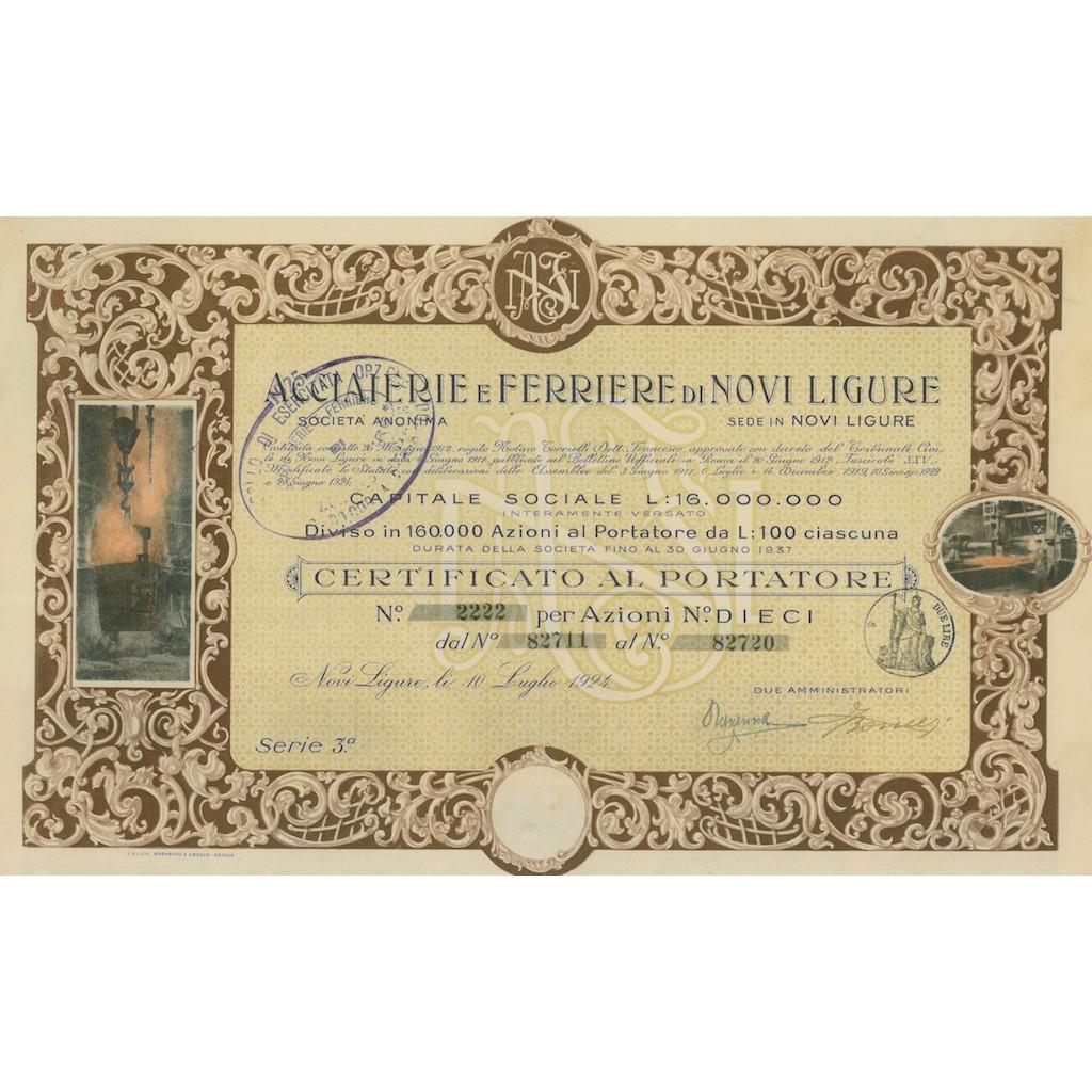 ACCIAIERIE E FERRIERE DI NOVI LIGURE - 10 AZIONI 1924