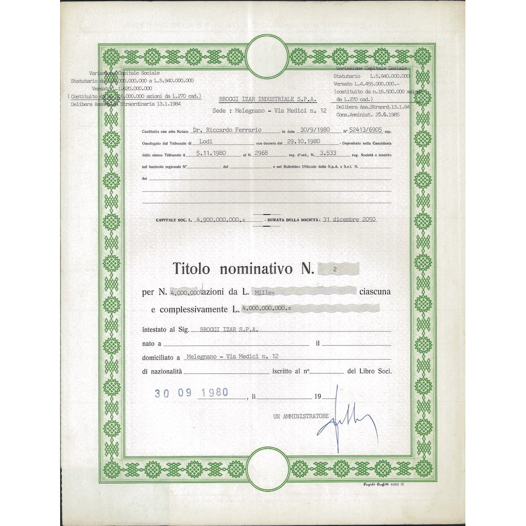 BROGGI-IZAR INDUSTRIALE - 4.000.000 AZIONI MILANO 1980