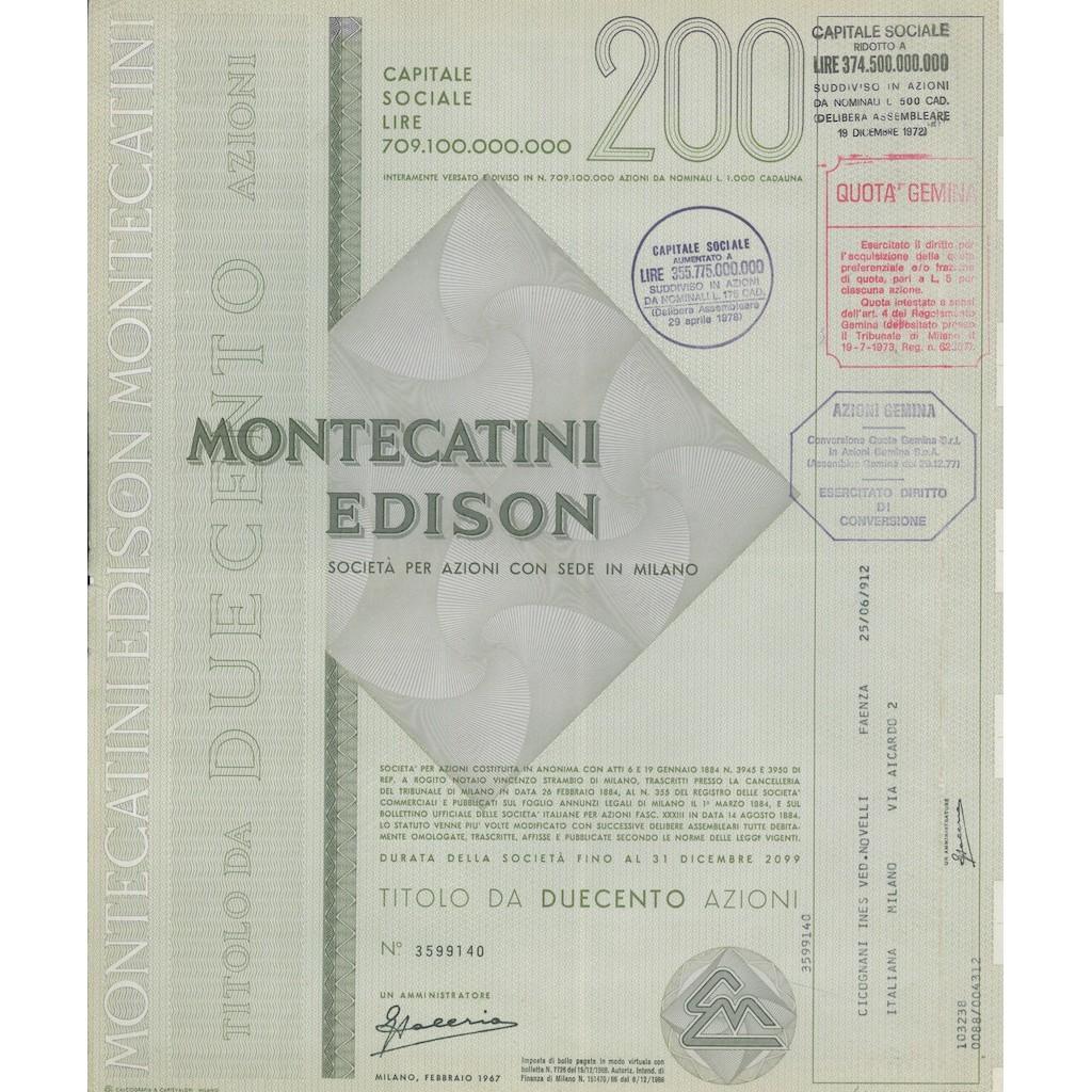 MONTECATINI - EDISON 200 AZIONI MILANO 1967