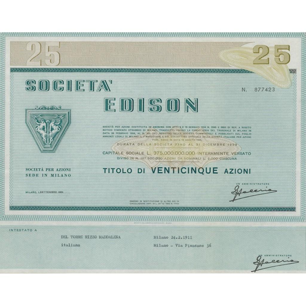 SOCIETA' - EDISON 25 AZIONI MILANO 1964