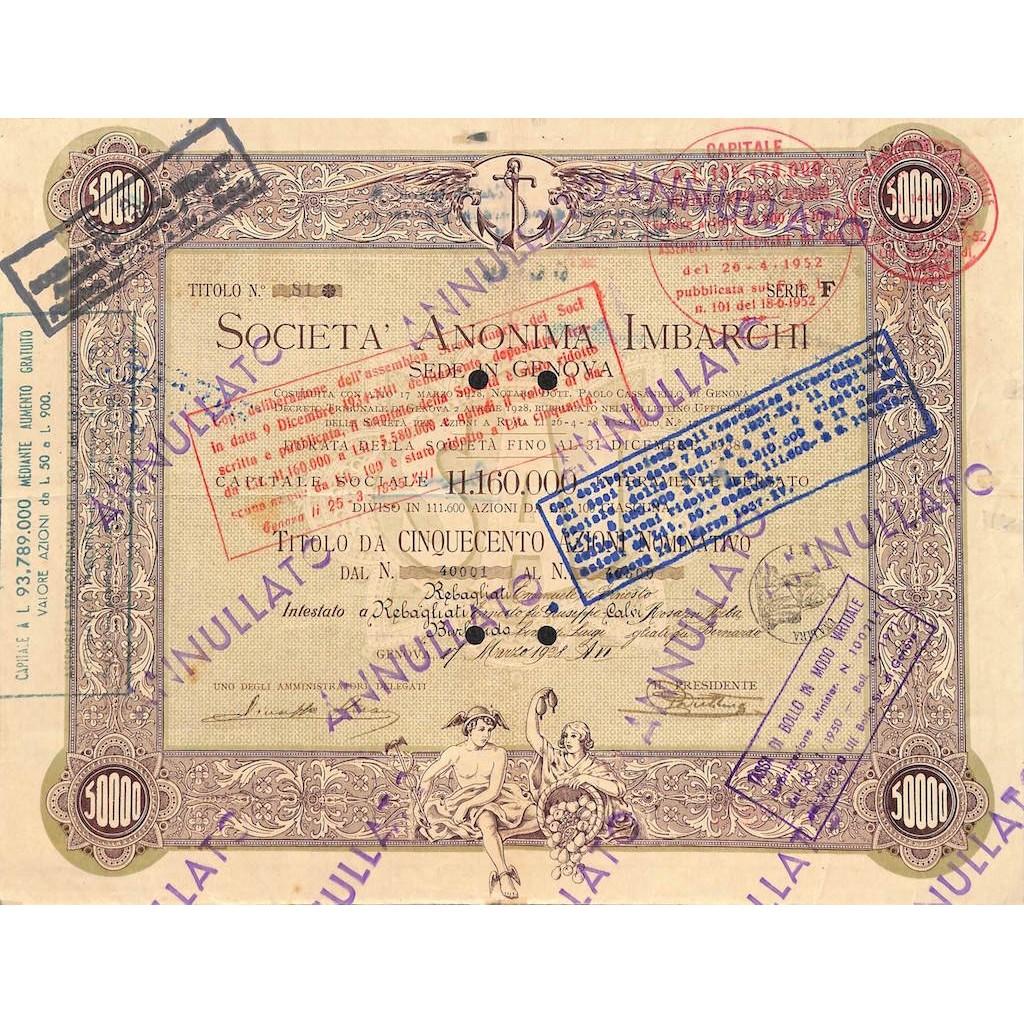 SOCIETA' ANONIMA IMBARCHI - 500 AZIONI GENOVA 1928