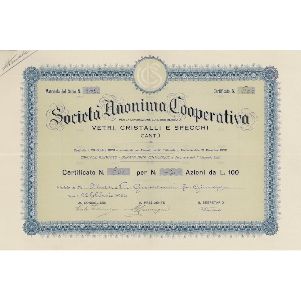 COOP. VETRI CRISTALLI E SPECCHI - 4 AZIONI CANTU' 1924