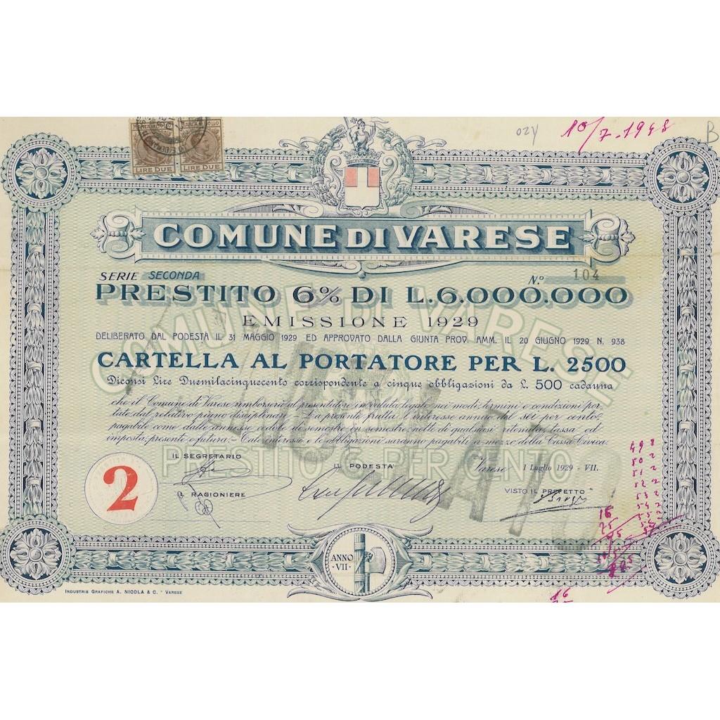COMUNE DI VARESE - CARTELLA AL PORTATORE PER 2500 LIRE - 1929