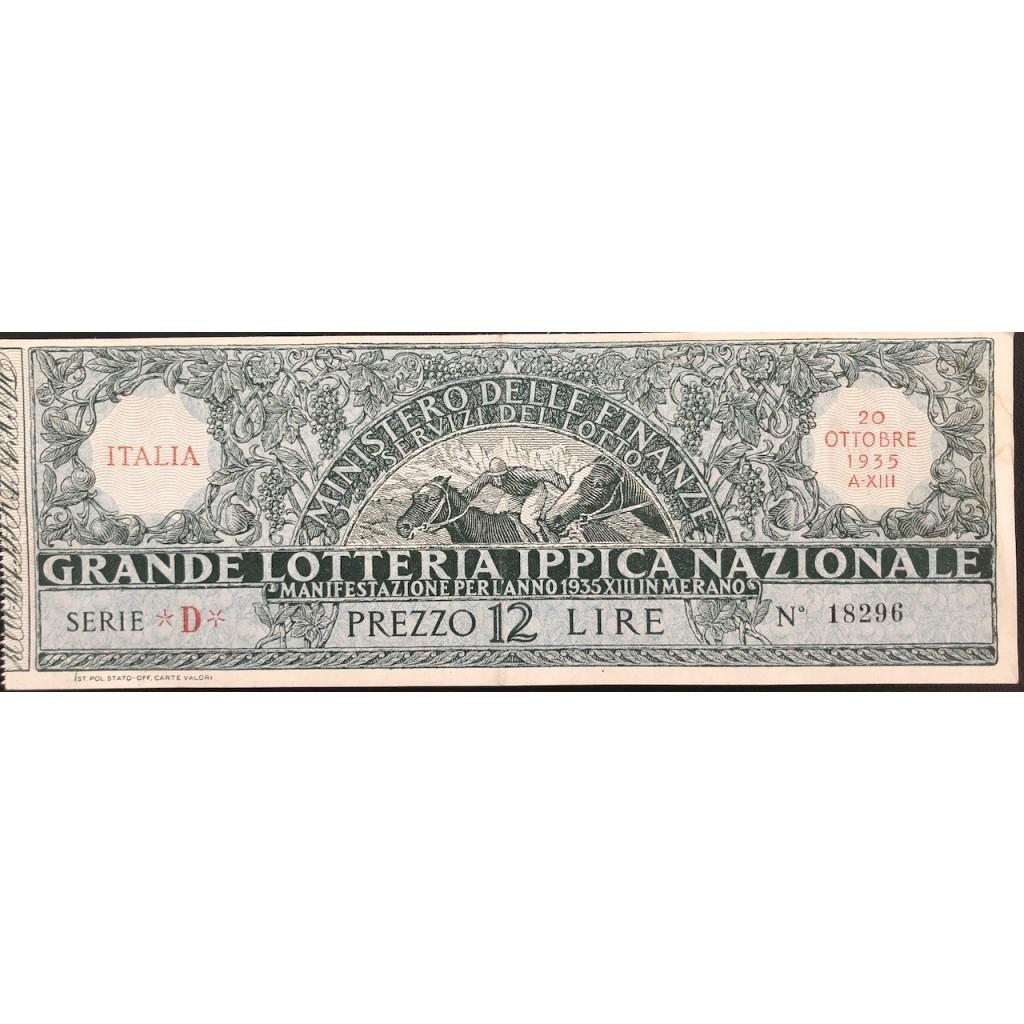 1935 GRANDE LOTTERIA IPPICA NAZIONALE...