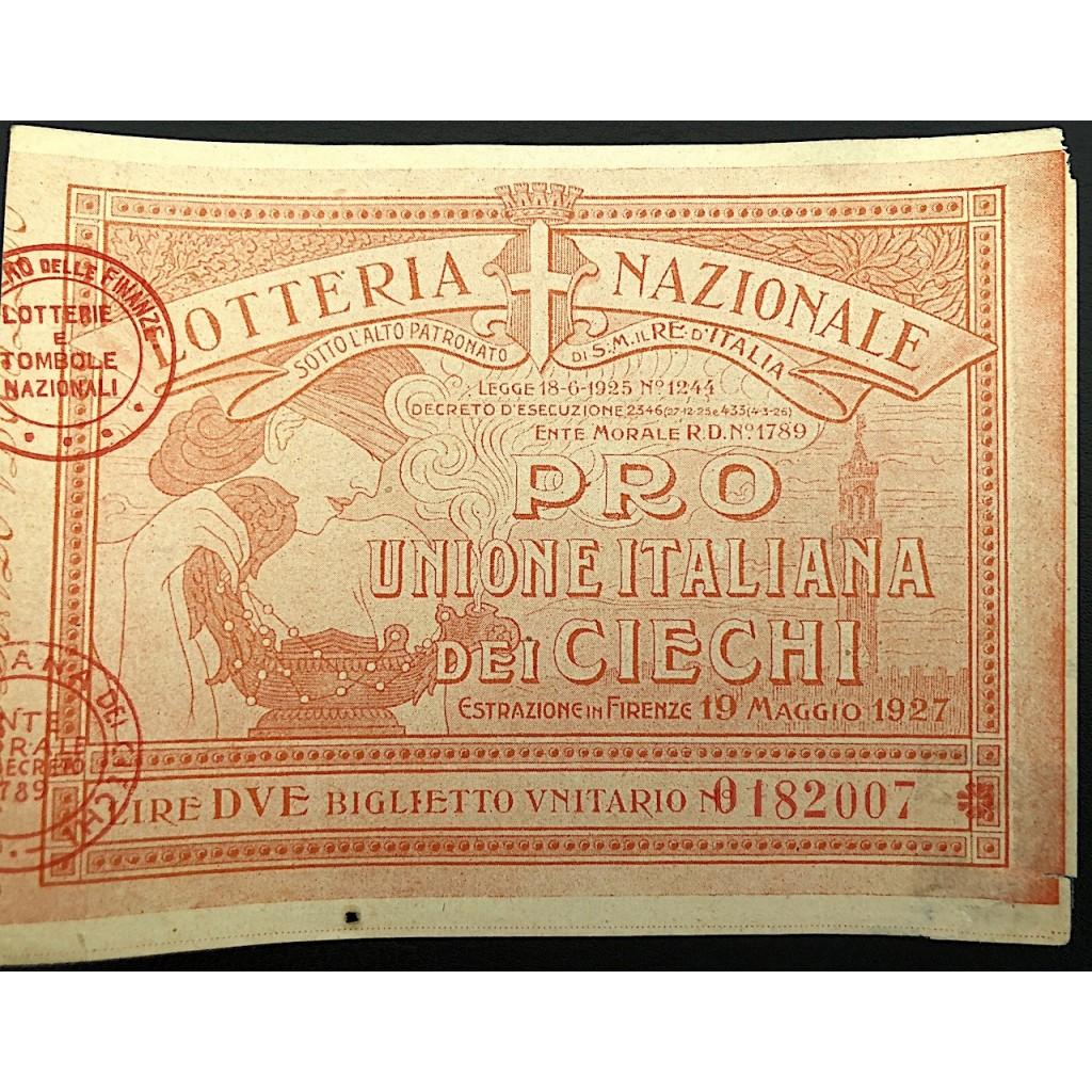 1927 LOTTERIA NAZIONALE PRO UNIONE...