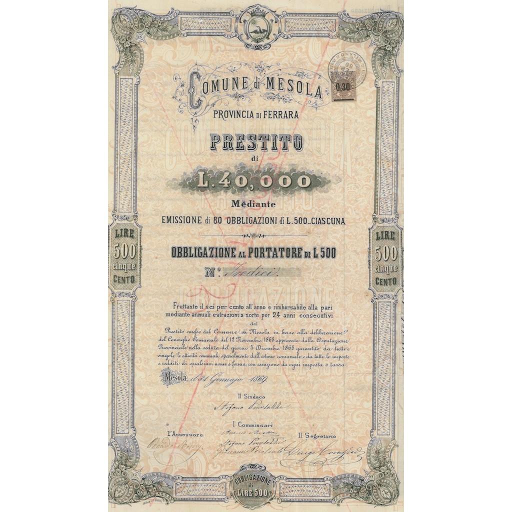 COMUNE DI MESOLA - 1 OBBLIGAZIONE 1869