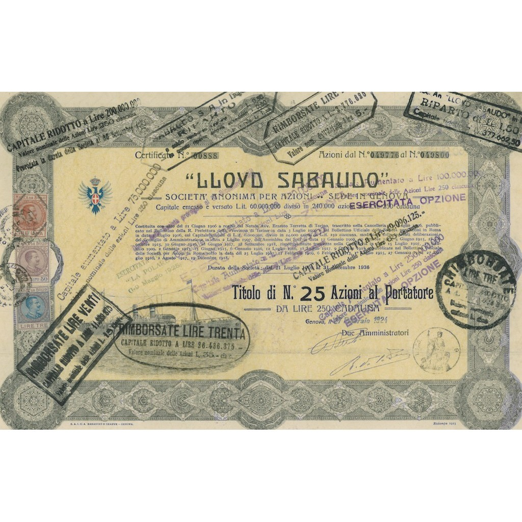 LLOYD SABAUDO - 25 AZIONI CAPITALE EMESSO 60.000.000 - GENOVA 1924