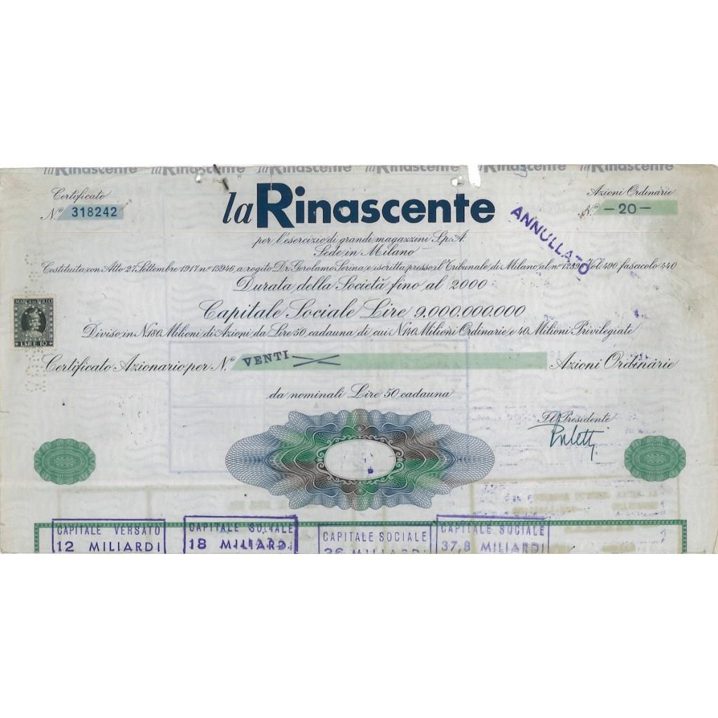LA RINASCENTE - CERTIFICATO DI AZIONI DI LIRE 50 MILANO 1965