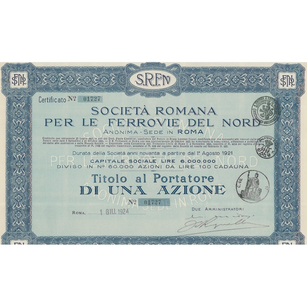 SOC. ROMANA PER LE FERROVIE DEL NORD 1 AZIONE ROMA 1924