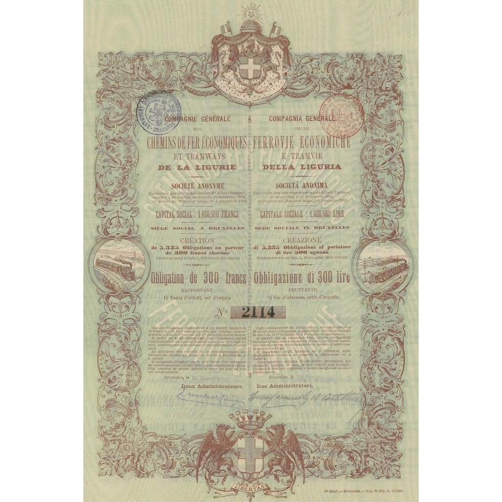 COMP. GEN. DELLE FERROVIE ECONOMICHE E TRAMVIE DELLA LIGURIA 1 OBB. BRUXELLES 1892