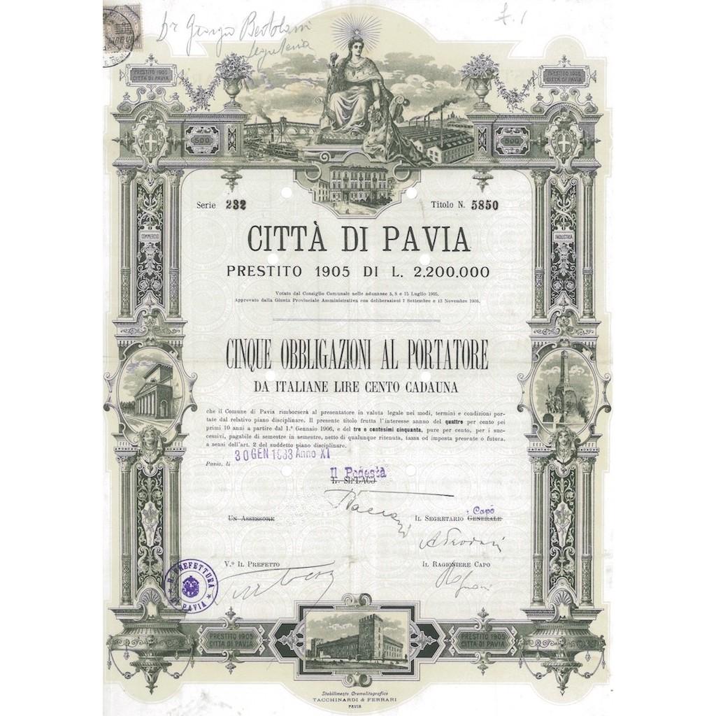 CITTA' DI PAVIA 5 OBBLIGAZIONI PAVIA 1933