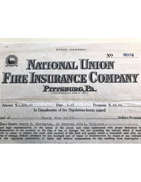 1936 - NATIONAL UNION FIRE INSURANCE COMPANY