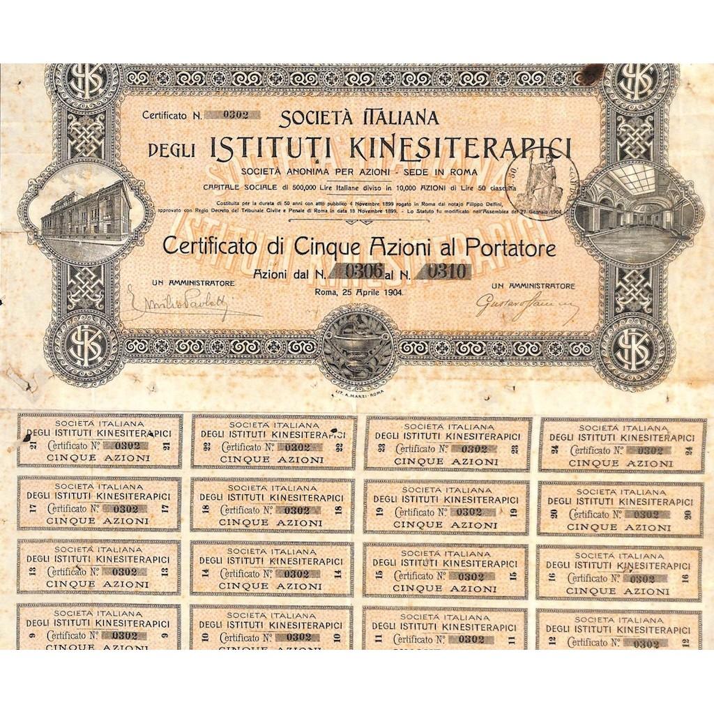 SOC. ITA. DEGLI ISTITUTI KINESITERAPICI - 5 AZIONI ROMA 1904