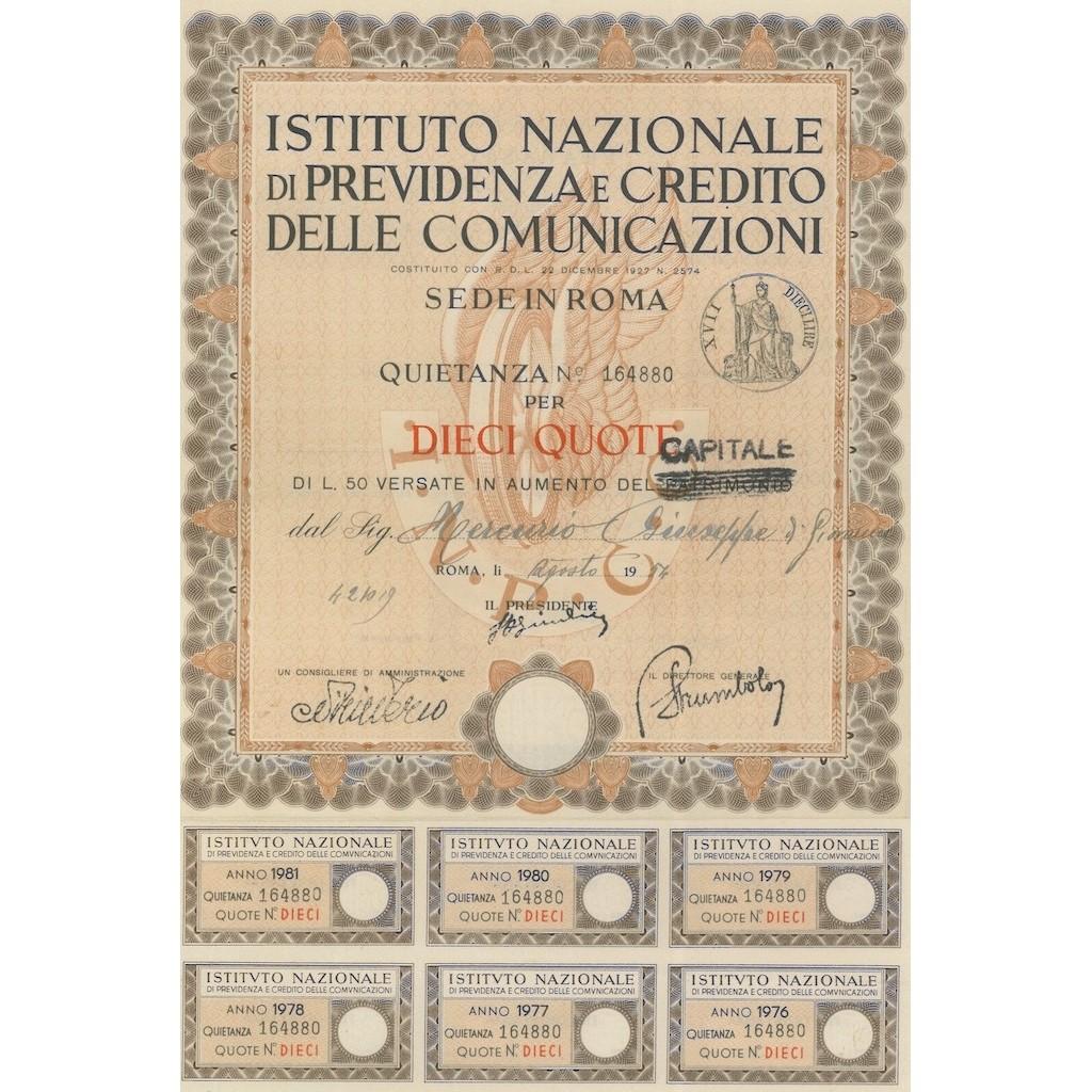ISTITUTO NAZIONALE DI PREVIDENZA E CREDITO DELLE COMUNICAZIONI 10 QUOTE ROMA 1954