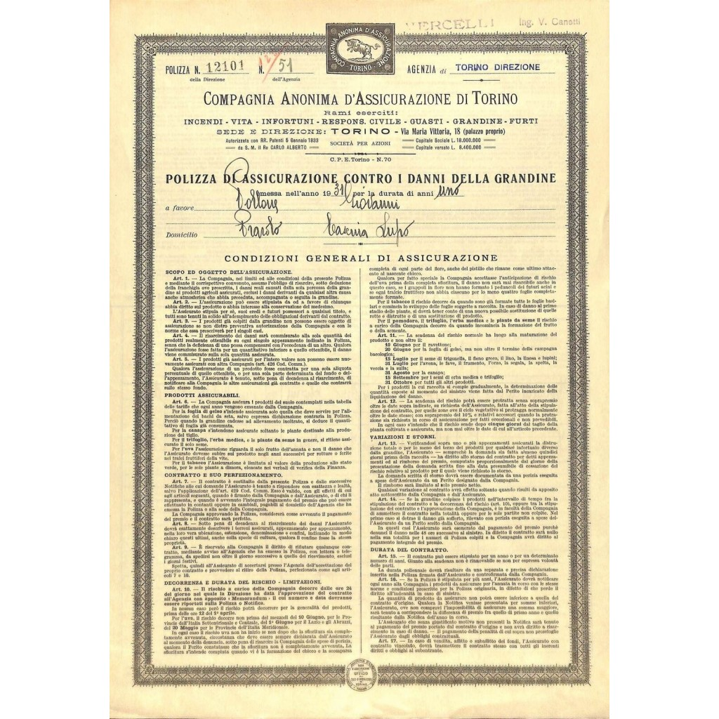 1931 - COMPAGNIA ANONIMA...
