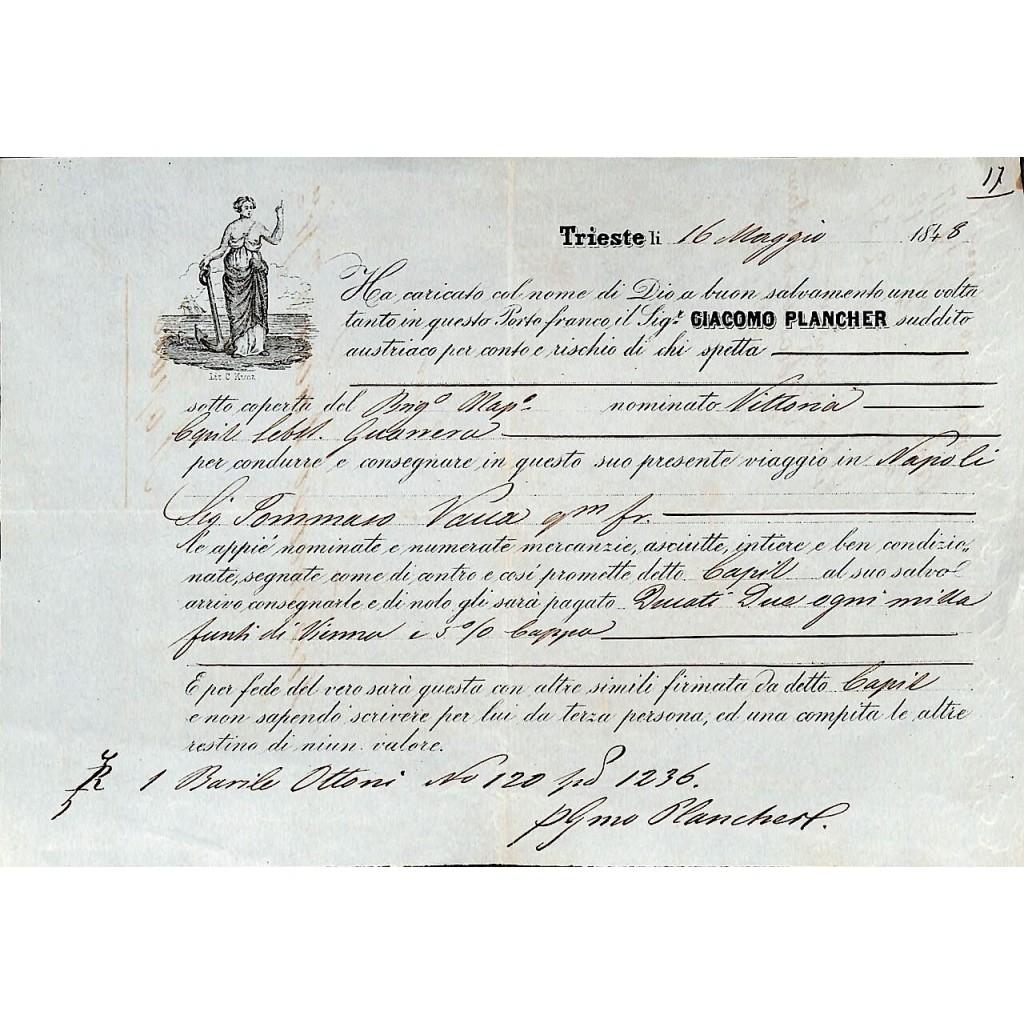 1848 - POLIZZA DI CARICO DA TRIESTE A...