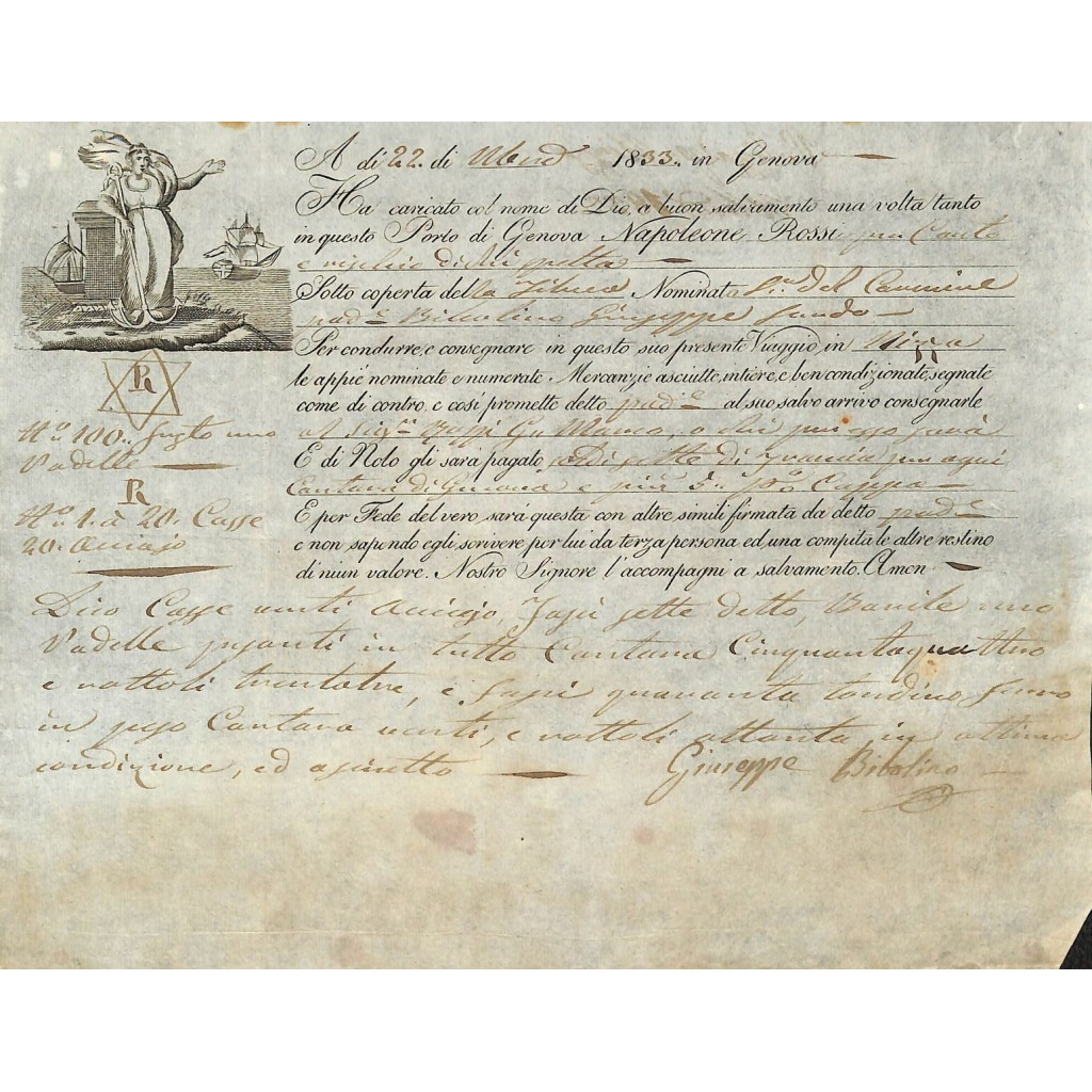 1833 - POLIZZA DI CARICO DA GENOVA A...