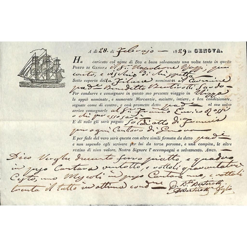 1829 - POLIZZA DI CARICO DA GENOVA A...