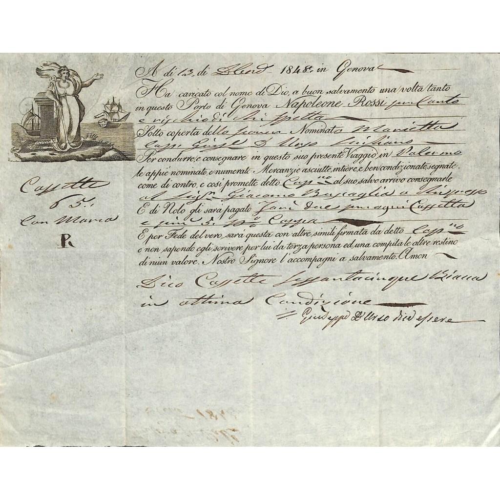 1848 - POLIZZA DI CARICO DA GENOVA A...