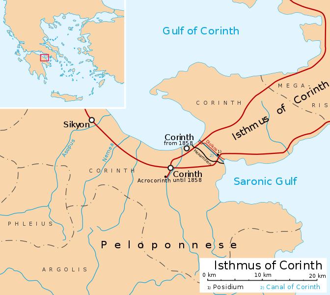 Posizione del canale di Corinto.